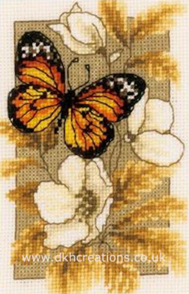 Black And Orange Butterfly On Flowers Cross Stitch Kit